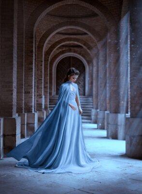 Wall mural Sad Snow Queen walks in old castle. blue silk long raincoat train flying motion. Elven hairstyle cute face. Vintage fantasy art retro style. Frozen Fabulous woman photo shoot. sun magic shine rays