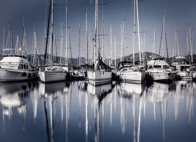 Wall mural Sail boat harbor in evening