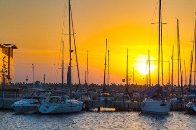 Sail boats at the sunset in Haifa. Israel