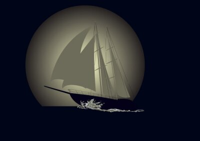 Wall mural Sailboat against a background of the moon