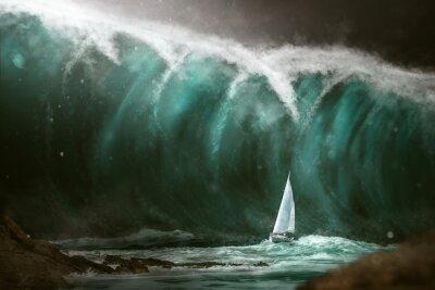 Wall mural Sailboat in front of a tsunami