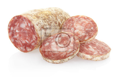 Wall mural Salami and slices on white, clipping path included