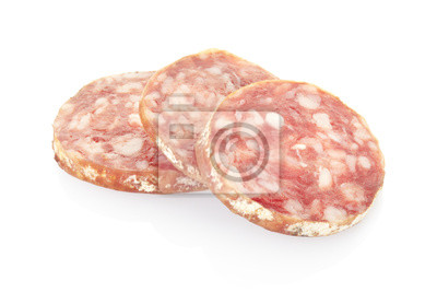 Wall mural Salami slices isolated, clipping path included