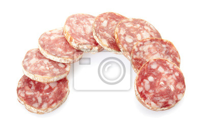 Wall mural Salami slices on white, clipping path included