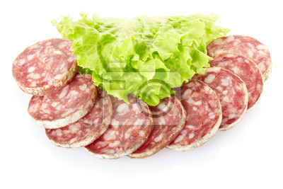 Wall mural Salami with salad on white, clipping path included