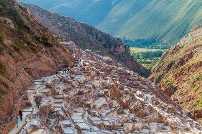 Wall mural SALINAS, PERU - MAY 21, 2015: Tourists visit salt extraction pans (Salinas) in Sacred Valley of Incas, Peru