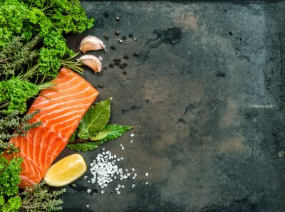 Wall mural Salmon fish fillet with herbs and spices