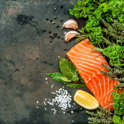 Wall mural Salmon fish fillet with herbs spices. Seafood