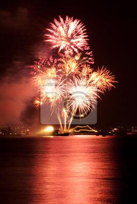 Salute, fireworks above the bay. Sevastopol.