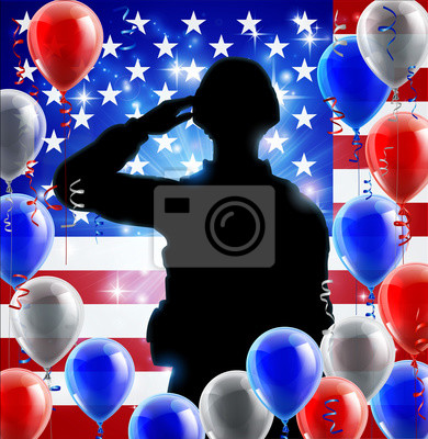 Saluting Soldier American Flag Balloon Graphic