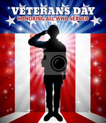 Saluting Soldier Veterans Day American Flag