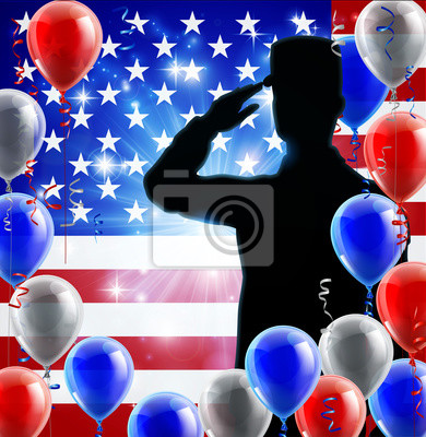 Saluting soldier with a patriotic American flag red, white and blue balloon background graphic design
