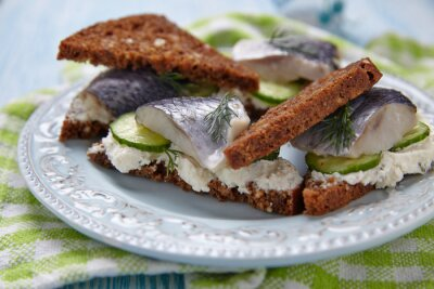 Wall mural Sandwich with herring