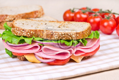 Wall mural sandwiches  on a wooden board