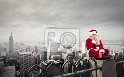 Santa Claus and grey skyline
