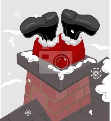 Wall mural santa in the chimney