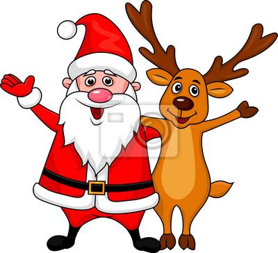 Wall mural Santa with deer waving hands