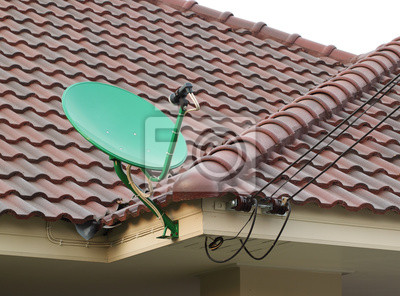 Satellite dish on the roof of tile