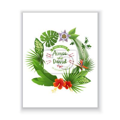 Save the date card with tropical wreath