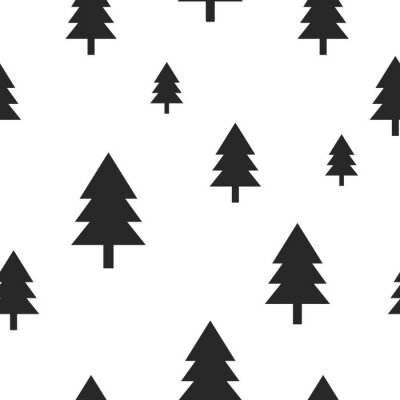Wall mural Scandinavian black forest tree on white vector seamless pattern. Simple and trendy design for textile fabric, wrap paper, prints.