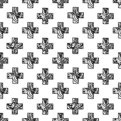 Wall mural Scandinavian minimal style cross pattern with openwork net texture. Black and white geometry fabric print design.