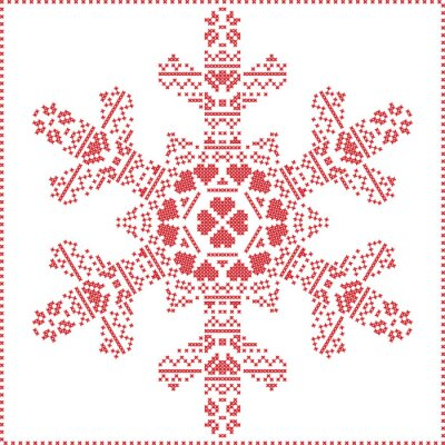 Wall mural Scandinavian Nordic cross stitching, knitting  christmas pattern in  in  snowflake shape , with cross stitch frame including , snow, hearts, stars, decorative elements in red on white  background