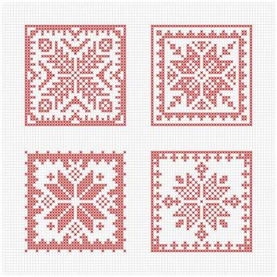 Wall mural Scandinavian style cross stitch pattern