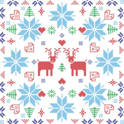Wall mural Scandinavian style Nordic winter stich, knitting seamless pattern in the square shape including snowflakes, trees,xmas snowflakes, hearts, reindeers and  Decorative elements in red and blue tile