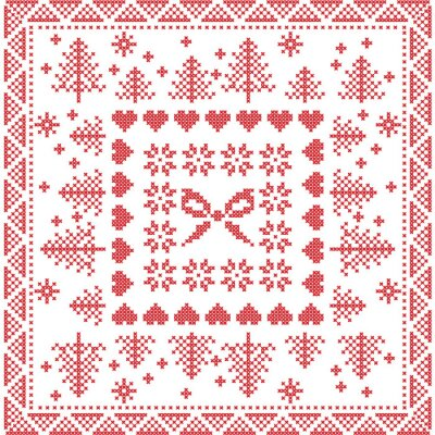 Wall mural Scandinavian style Nordic winter stitch, knitting seamless pattern in the square, tile  shape including snowflakes, bow, christmas tree,xmas snowflakes, hearts,  Decorative elements in red