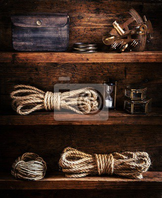 scientific expedition background. The traveller's accessories on the wooden shelf