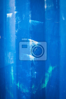 Scratched blue metallic transport container texture