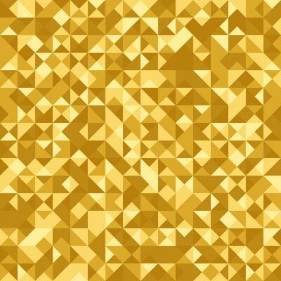Wall mural Seamless abstract pattern: gold heraldic background with holographic effect. Triangle foil.