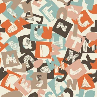 Wall mural seamless alphabet pattern