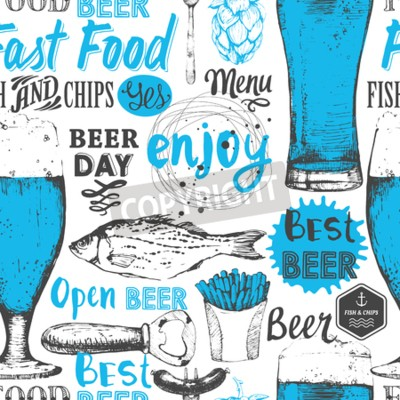 Wall mural Seamless background with beer set. Pub menu. Bottle and glass of beer in sketch style. Vector illustration with beer labels.
