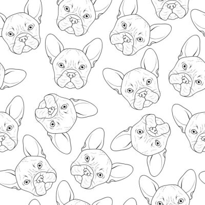 Wall mural Seamless background with cute bulldog sketch. Realistic dog handmade. Coloring monochrome with bulldog. Print for printing on textile. Breed dogs. Seamless background with dog for printed materials