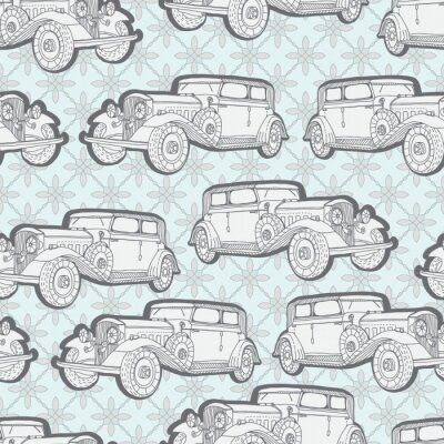 Wall mural Seamless background with retro car
