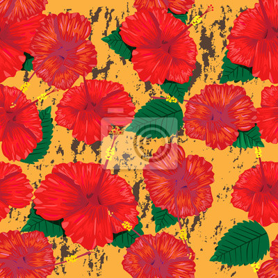 Wall mural Seamless blooming flowers pattern background with red hibiscus f