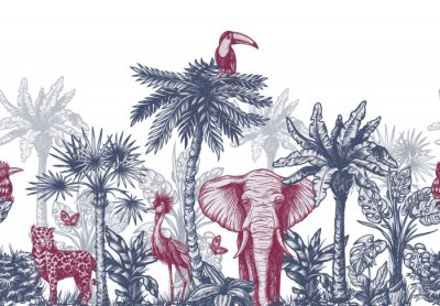 Wall mural Seamless border with graphical tropical tree such as palm, banana and jungle animals. Vector.