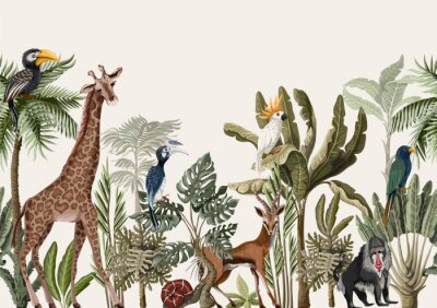 Wall mural Seamless border with tropical tree such as palm, banana and jungle animals. Vector.