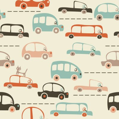 Wall mural seamless cartoon map of cars and traffic