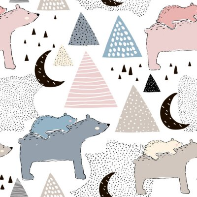 Wall mural Seamless childish pattern with polar bear mom and baby. Creative kids design. Perfect for fabric, textile, warpping, nursery.Vector Illustration