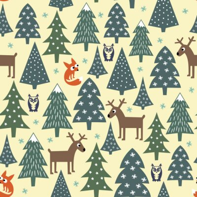 Wall mural Seamless Christmas pattern - varied Xmas trees, houses,foxes, owls and deers. Happy New Year background. Vector design for winter holidays. Child drawing style nature forest illustration.