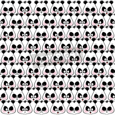 Wall mural Seamless colored background of funny muzzles pandas. Illustratio