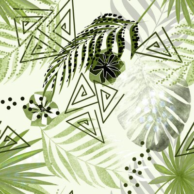 Wall mural Seamless colorful tropical pattern. Green palm leaves, flowers white background .