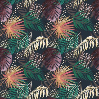 Wall mural Seamless colorful tropical pattern. Leaves of a palm, monstera on a dark background.