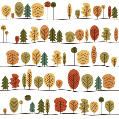 Wall mural Seamless Decorative Template Texture With Autumn Trees. Colorful Seamless Stylized Trees Pattern.