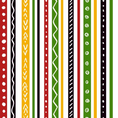 Wall mural Seamless ethnic pattern with green, yellow, red color stripes. Repeat straight stripes texture background, vector.
