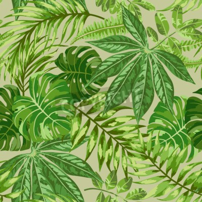 Wall mural Seamless exotic pattern with tropical leaves on a beige background. Vector illustration.