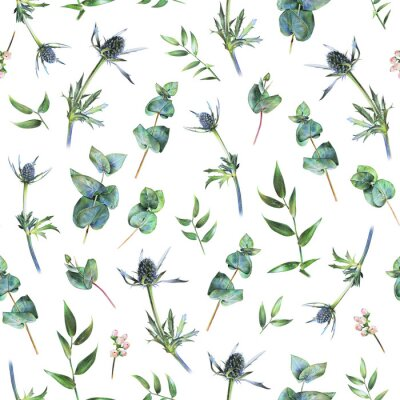 Wall mural Seamless floral pattern with green eucalyptus, feverweeds and leaves of ruscus on white. Spring plants. Botanical natural background drawn by hand with colored pencil