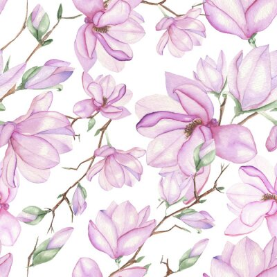 Wall mural Seamless floral pattern with magnolias painted with watercolors on white background